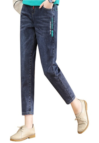 A-IN GIRLS navy Elastic Waist Printed Jeans CB0F5AA2BC4319GS_1