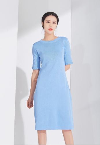 Zafiti blue Mid Sleeves Knitting Dress 34526AA4440066GS_1