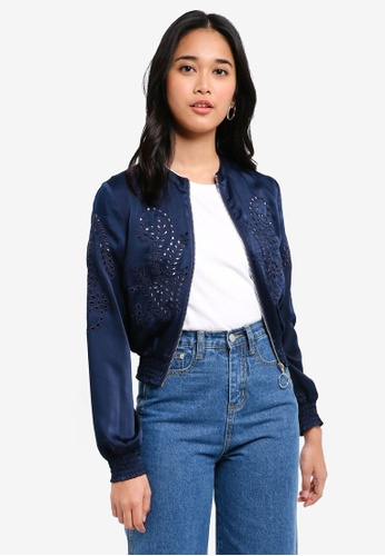 Something Borrowed navy Embroidered Bomber Jacket 6B9A5AA5474522GS_1