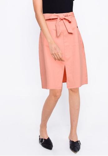 ZALORA BASICS pink Front Slit A Line Skirt 9557CAA5A7C225GS_1