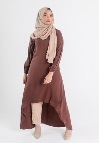 Zaryluq brown Hi-Lo Dress in Antique Brown 7E339AAA9CDD31GS_1