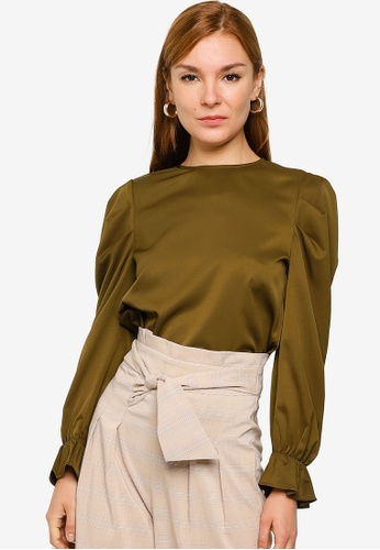 ZALORA WORK green Volume Sleeves Top 90B88AA67E68EDGS_1