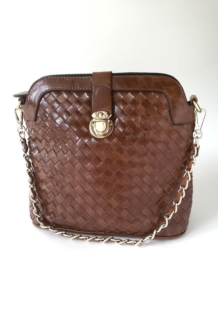 Weaved Leather Shoulder Bag