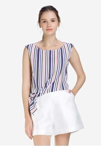 Hopeshow multi Mid Riff Sleeveless Blouse with Color Stripes 9F6A1AA5E3964CGS_1