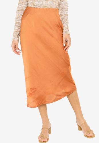 Banana Republic orange Bias Midi Slip Skirt 251FDAAC6DB71EGS_1