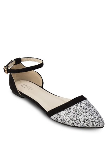 Leah 亮面esprit服飾側鏤空踝帶平底鞋, 女鞋, 鞋