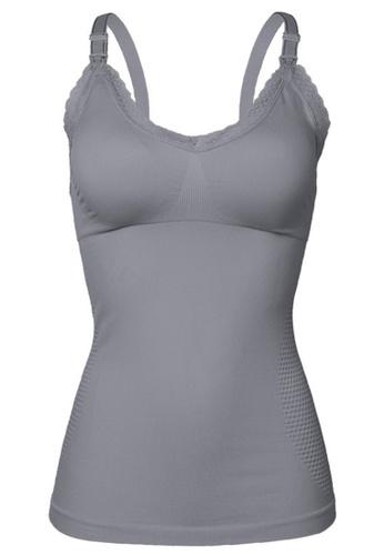 ZITIQUE grey Long Sling Lace Nursing Vest-Grey F01A6US41F8108GS_1