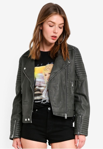 TOPSHOP black Washed Biker Jacket 8BE89AA98F4067GS_1