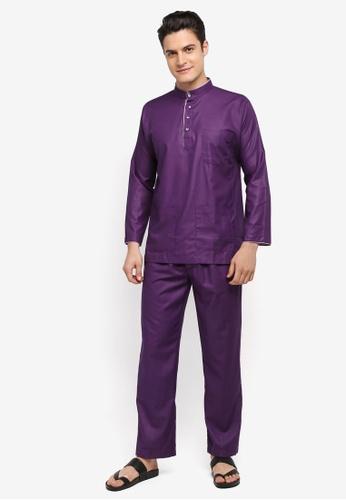 Mayasilk purple Baju Melayu SB Printed Inner-Collar 7B0FCAA85BBD94GS_1
