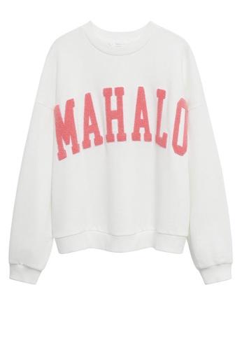 MANGO KIDS white Oversized Message Sweatshirt D079EKA81A37D8GS_1