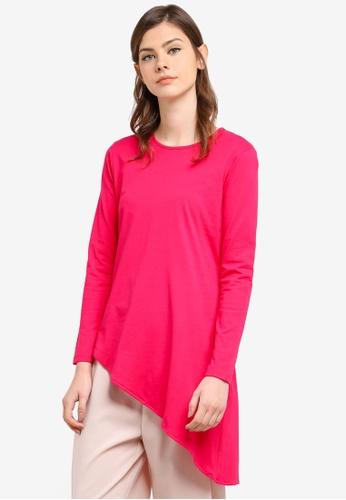 Aqeela Muslimah Wear pink Asymmetrical Top AQ371AA0S4VRMY_1