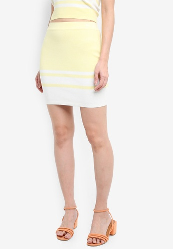 Something Borrowed yellow Knitted Colorblock Bodycon Skirt 7648EAA5BCC07FGS_1