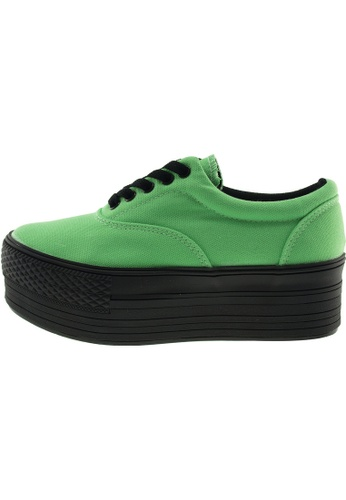 Maxstar 綠色 新款韩国鞋C50-5H時尚帆布布混合女綠色 US Women Size MA345SH93GTMTW_1