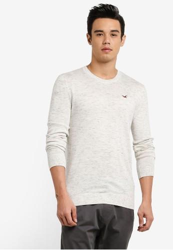 Hollister beige Crew Neck Knitted Sweatshirt HO422AA81INAMY_1