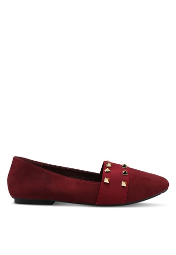 Noveni red Studded Flats F4A25SH572AC14GS_1