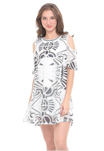 4831745ddfd97 MOOIMOM white MOOIMOM Cold Shoulder Abstract Maternity & Nursing Dress  Hamil Menyusui - White 8D5E8AA42FE028GS_1