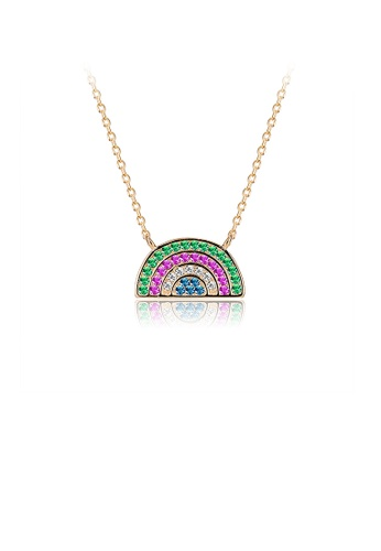 Glamorousky multi 925 Sterling Silver Plated Gold Rainbow Necklace with Austrian Element Crystal 47008ACA755182GS_1