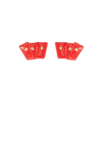 Glamorousky white Simple Personality Plated Gold Enamel Red Envelope Stud Earrings with Cubic Zirconia F7B23ACD5687DDGS_1