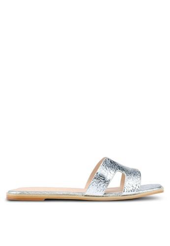 Nose silver Metallic Flat Slip On Sandals AA0D8SH800A569GS_1