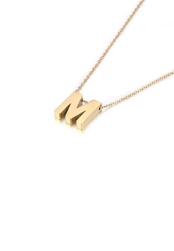 Glamorousky 銀色 簡約個性鍍金色英文字母M 316L鋼吊墜配項鏈 E682FAC00DE58AGS_1