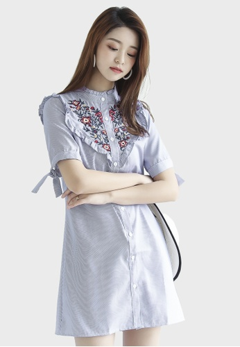 Shopsfashion blue Illusion Collar Embroidery Mini Dress 08AD6AA36D935FGS_1