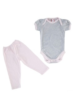 Mini Stripes Puff Sleeves Onesie Set