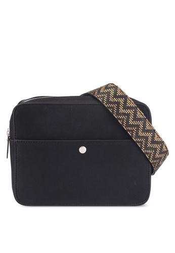 Something Borrowed black Printed Strap Shoulder Bag 898BBAC552B5D9GS_1