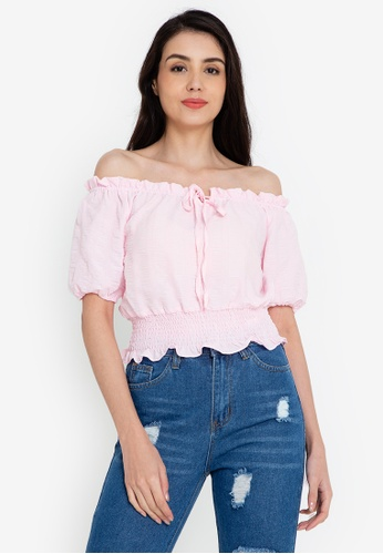 ZALORA BASICS 粉紅色 露肩細褶腰圍上衣 34A1DAA520EE90GS_1