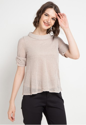 ELLE brown Nets Layered Blouses 4527EAA74CC16DGS_1