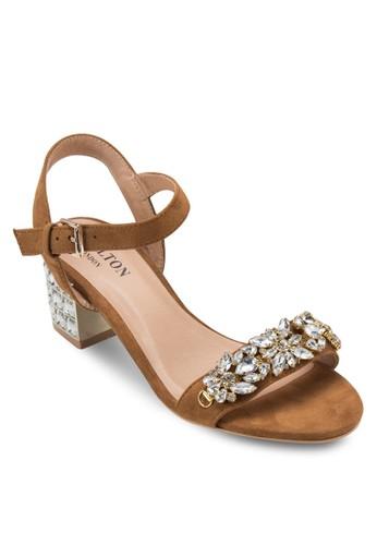 閃飾踝帶粗跟涼esprit 澳門鞋, 女鞋, 鞋