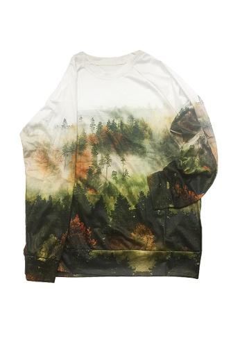Twenty Eight Shoes green VANSA Fashionable Landscape Print Long-Sleeved Sweatshirt VCW-Ss5666 6B7EFAAD00B639GS_1