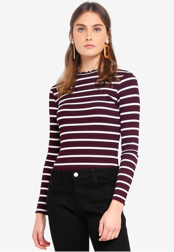 Dorothy Perkins 紅色 Berry Stripe Ribbed High Neck Top 2FB40AA807CE99GS_1