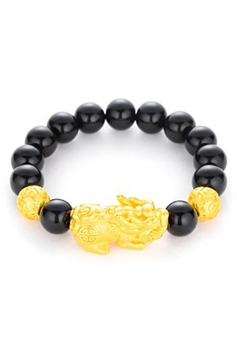 YOUNIQ black and gold YOUNIQ 24K Premium Gold Pixiu Black Stone Lucky Fortune Men Bracelet A7A86AC55AE377GS_1