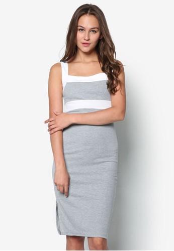 Mesprit台灣網頁s. Grey 色塊挖背洋裝, 服飾, 正式洋裝