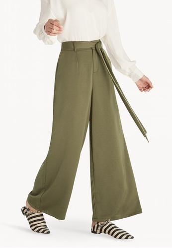 b401d07d5d6 Shop Pomelo Tie Waist Wide Leg Pants - Green Online on ZALORA ...