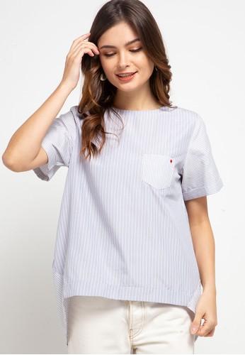 ELLE grey Stripes Combination with back Vest Model 97ADDAA60C749CGS_1