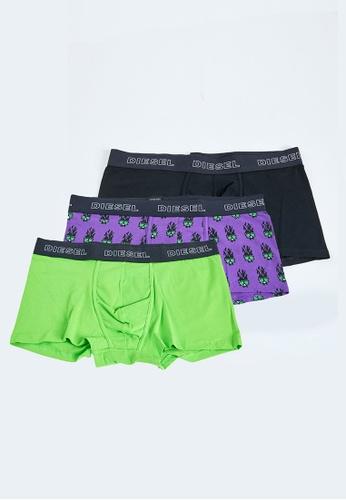 DIESEL black and green and purple UMBX-DAMIEN THREEPACK Boxers 4495EUS3CEB128GS_1