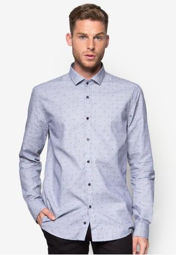 點點格紋修身長袖襯衫, 服飾, esprit分店地址襯衫