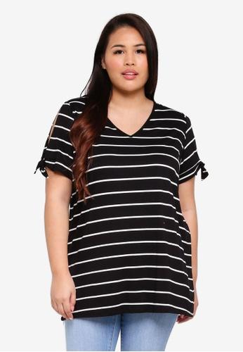 Dorothy Perkins multi Plus Size Stripe Bow Sleeve Tee 9916DAAD1A4A7EGS_1