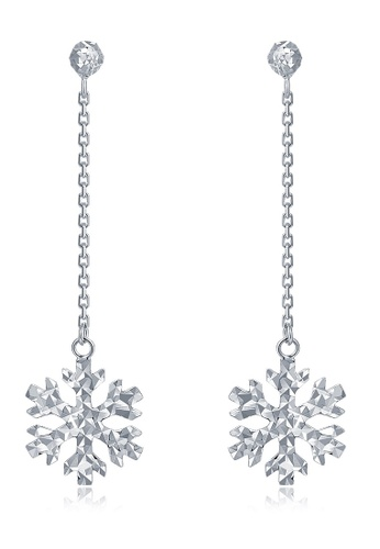 MaBelle silver 14K 585 White Gold Diamond Cut Snowflake Drop Stud Earrings F9EADACC35D20BGS_1