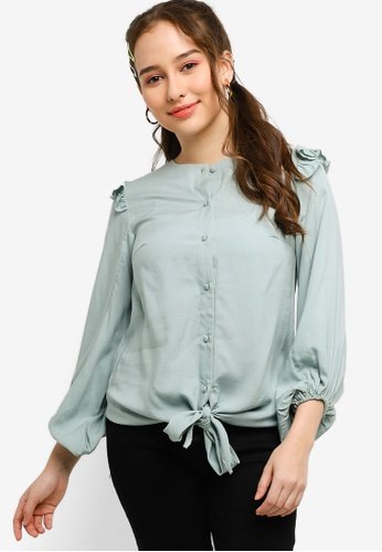 Lubna green Bishop Sleeve Top Made From TENCEL C0898AACC15753GS_1