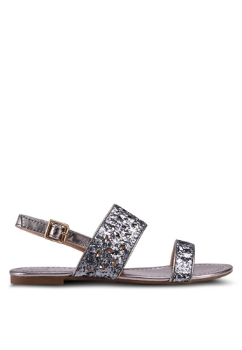 Carlton London grey Metallic Sandals 907D4SH2E85358GS_1