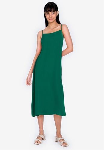 ZALORA BASICS green Low Back Column Dress D0296AAFB3F51AGS_1