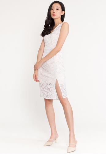 BEBEBEIGE white BebeBeige Sleeveless V-Neckline Midi Cocktail Evening Dinner Dress A360BAA05061E8GS_1