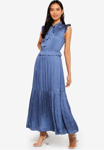 ca4d36190ad Banana Republic blue Petite Tie Neck Maxi Dress 1336EAA93ECBB3GS 1