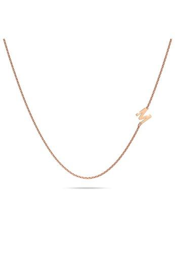 Bullion Gold gold BULLION GOLD Bold Alphabet Letter Initial Charm Necklace in Rose Gold Tone - M D05BCAC1B633C6GS_1