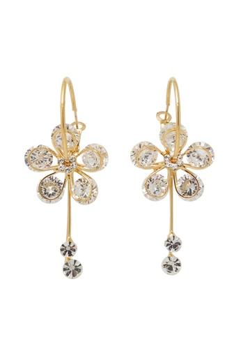 Jaysa Collection gold Class AAA Zirconias Flower Leverback Earrings JA875AC0GMAZSG_1