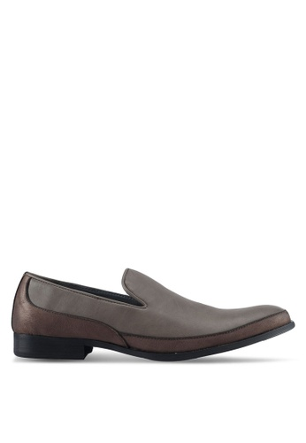 ZALORA brown Faux Suede Mix Material Slip On Dress Shoes EBEC6SHCFEEDB5GS_1