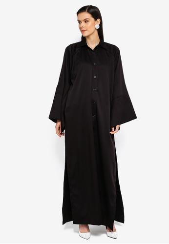 AfiqM black Oversized Shirt Dress A662CAAD5ECB4BGS_1