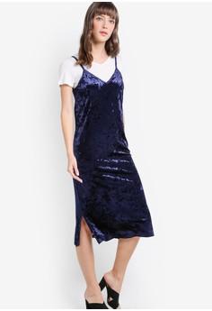 【ZALORA】 Indie 兩件式天鵝絨背心連身裙